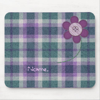 Plaid With Flower Mouse Mat