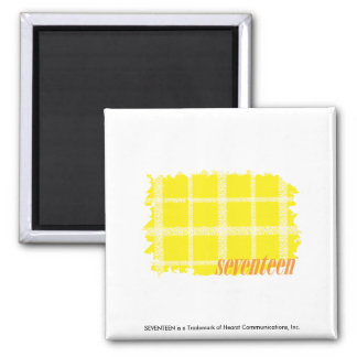 Plaid Yellow 3 Square Magnet