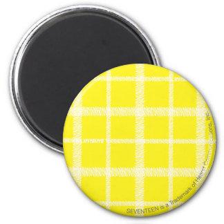 Plaid Yellow 6 Cm Round Magnet
