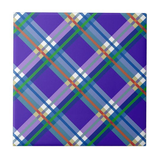 Plaids, Checks, Tartans Blue Tile