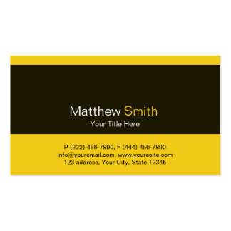 Plain and Elegant Black Yellow Business Card