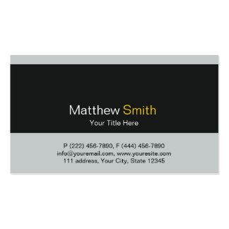 Plain and Elegant Grey Black Yellow Business Card