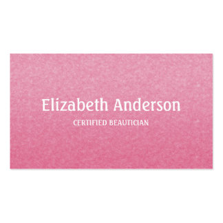 Plain and Simple Chic Pink Certified Beautician Business Card Template