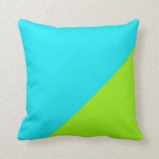Plain aqua (cyan) and lime background cushion