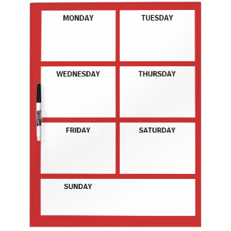Plain Basic Simple Red White Days of the Week Dry Erase Board