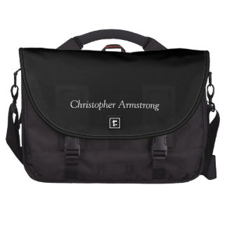 Plain black custom boys name commuter laptop bag