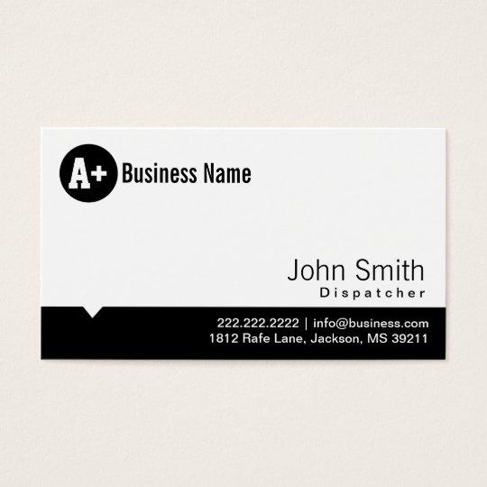 Plain Black Dot Dispatcher Business Card
