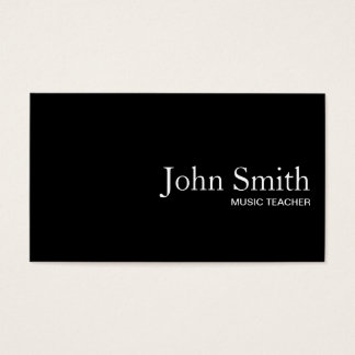 Plain Black QR Code Music Teacher Business Card