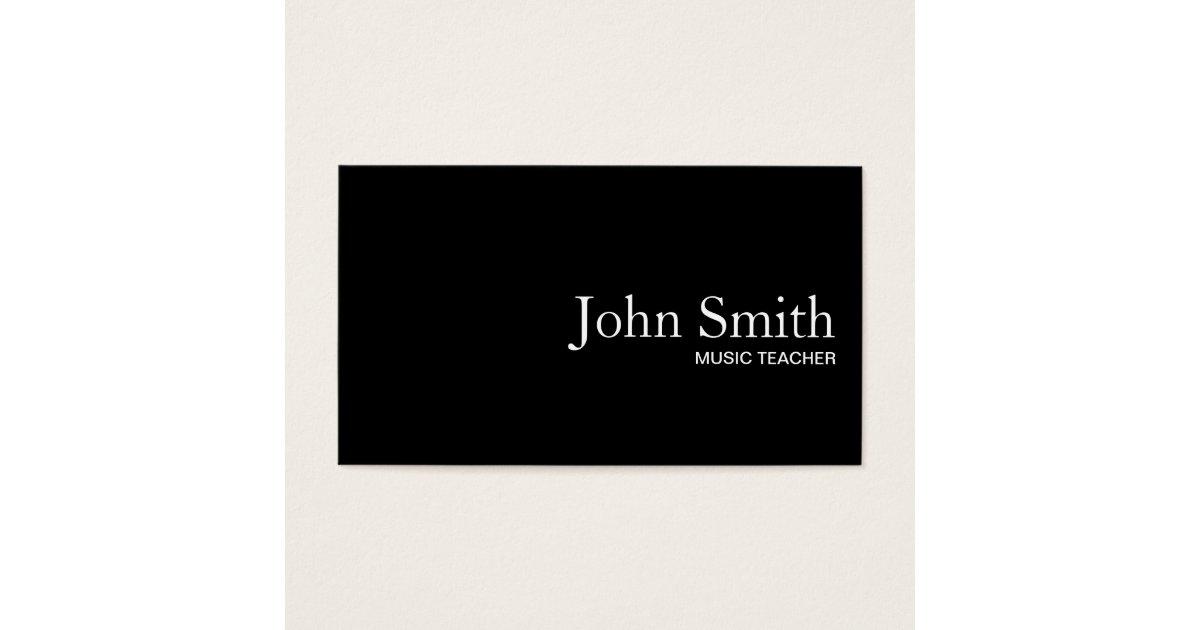 Plain Black QR Code Music Teacher Business Card | Zazzle.co.uk