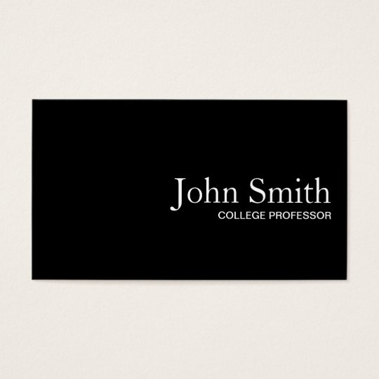Plain Black QR Code Professor Business Card