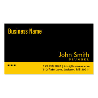 Plain Black & Yellow Plumber Business Card