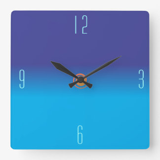 Plain Blended Blues > Square Wall Clocks