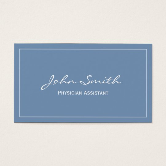 Plain Blue Physician Assistant Business Card