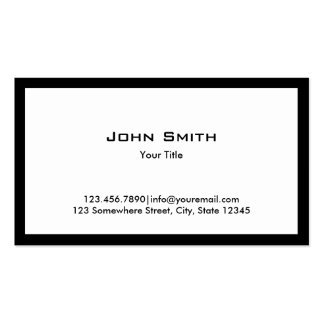 Plain Bold Black Border Business Card