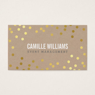 PLAIN BOLD MINIMAL confetti gold eco natural kraft Business Card
