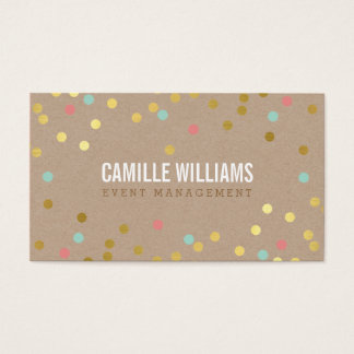 PLAIN BOLD MINIMAL smart text confetti gold kraft Business Card