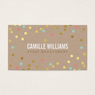 PLAIN BOLD MINIMAL smart text confetti gold kraft Business Card