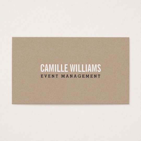PLAIN BOLD MINIMAL smart text natural kraft Business Card
