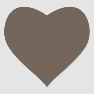 Plain brown background heart shaped sticker