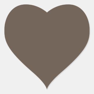 Plain brown background heart shaped sticker