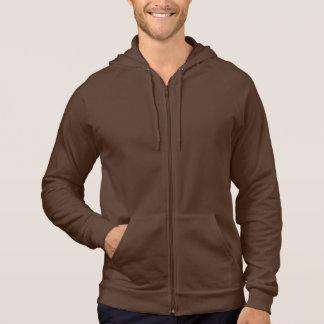Plain brown fleece zip hoodie for men