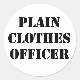Plain Clothes Officer Round Sticker