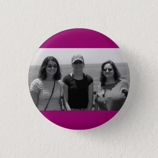 Plain Dark Fuschia Pink Photo frame 3 Cm Round Badge