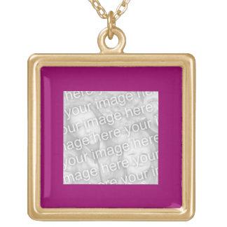 Plain Dark Fuschia Pink Photo frame Square Pendant Necklace