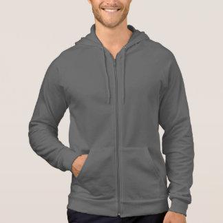 Plain dark grey asphalt fleece zip hoodie for men
