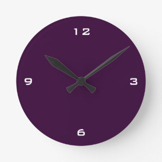 Plain Dark Plum & White Numbers Round Clock
