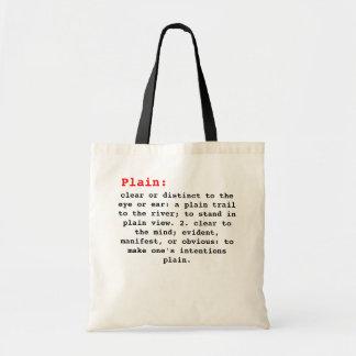 Plain definition.. budget tote bag