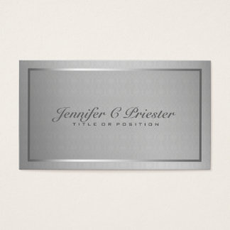 Plain Elegant Metallic Silver Gray And Black Business Card