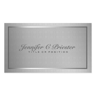 Plain Elegant Metallic Silver Gray And Black Pack Of Standard Business Cards