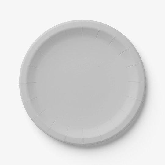 Plain Flamingo Love Grey paper plates