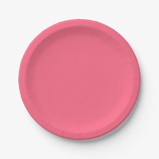 Plain Flamingo Love Hot Pink paper plates