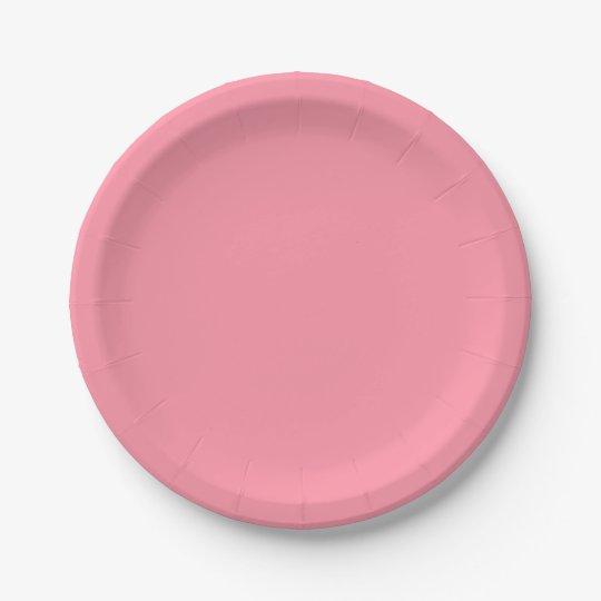 Plain Flamingo Love Pink paper plates