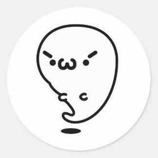 Plain gauze Keen ghost Round Sticker
