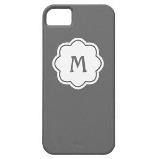 Plain Gray Background Monogram iPhone 5 Cover
