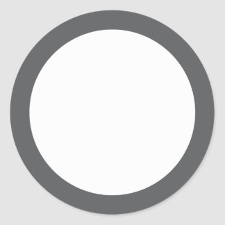 Plain gray border blank round sticker
