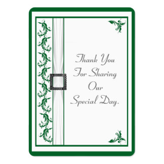 Plain green and white lace wedding thank you tag pack of chubby business cards