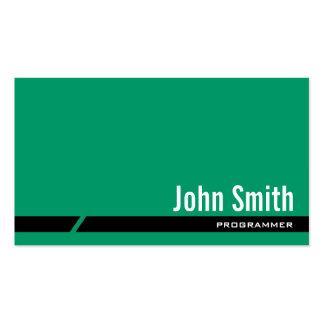 Plain Green Black Stripe Programmer Business Card