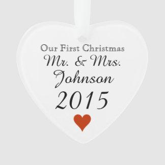 Plain Heart 1st Christmas Mr. & Mrs. Newlywed
