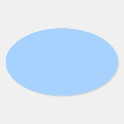 Plain Light Blue Background. Oval Sticker