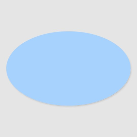 Plain Light Blue Background. Oval Sticker