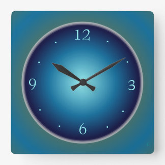 Plain Luminous Blue/ Green>Wall Clock