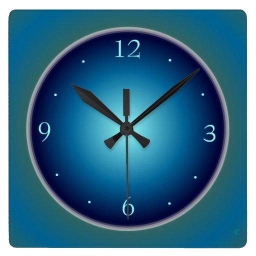 Plain luminous blue greengtwall clock zazzle for Green wall clocks uk