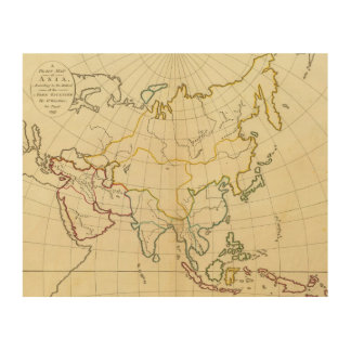 Plain map Asia Wood Wall Art