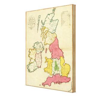 Plain map British Islands Canvas Print
