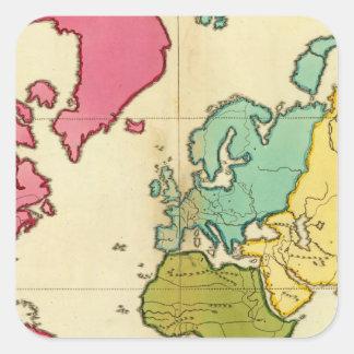 Plain map World Square Sticker