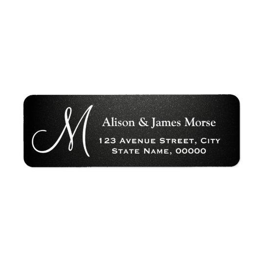 Plain Matte Black with White Font Monogram Wedding Return Address Label